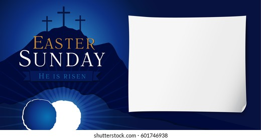 Easter Sunday service vector invitation with text He is risen on a background of rolled away from the tomb stone of Calvary. Easter sunday holy week poster