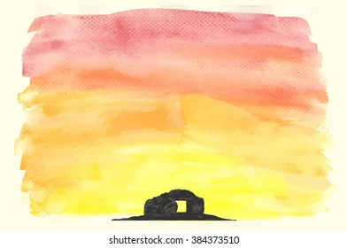 Easter sunrise background done in vector watercolor with a tomb silhouette