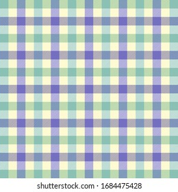 Easter Tartan plaid. Scottish pattern in blue, violet and yellow cage. Scottish cage. Traditional Scottish checkered background. Seamless fabric texture. Vector illustration