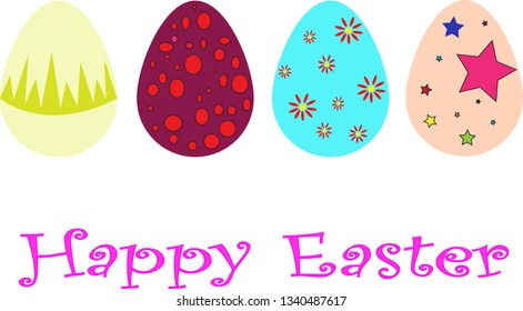 Easter template with colorful eggs, illustration