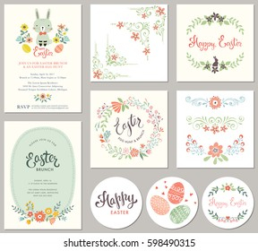 Easter templates with eggs, flowers, floral wreath and branches, ornate corners and dividers, rabbit and typographic design. Good for spring and Easter greeting cards and invitations.
