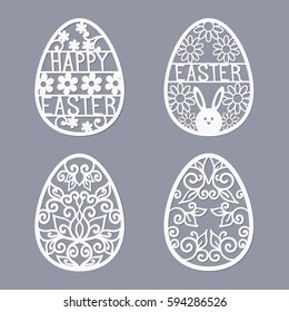 Easter templates for laser cutting. Illustration in paper style.