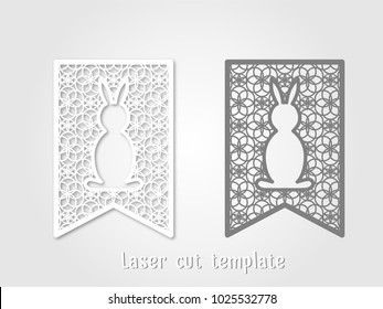 Easter templates for laser cutting. Openwork Easter flag with bunny for decorative garland.