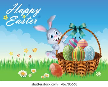 Easter theme with bunny and basket full of colorful eggs  in grass and flowers,Vector