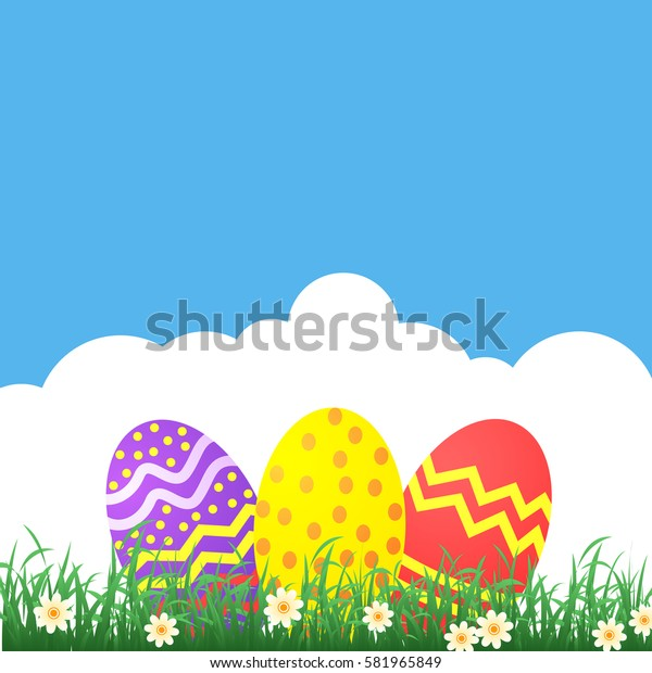 Easter themed banner with decorated eggs and grass