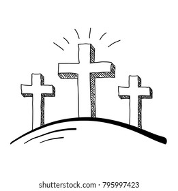 Easter three crosses doodle vector