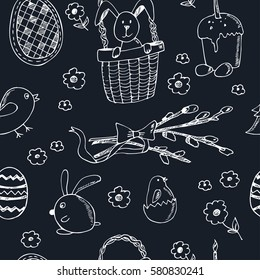 Easter traditional doodle symbols seamless pattern Eggs, bunny, basket, chicken, cake. Vector drawings set isolated on white background.