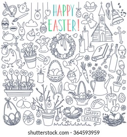 Easter traditional symbols collection - eggs, bunny, willow twigs, basket, candles, Christian church, egg decorating. Vector drawings set isolated on white background.