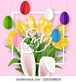 Easter Typographical Background With Rabbit and Tulips flowers