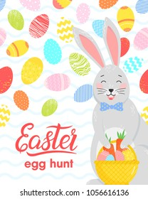Easter typography.Hand drawn lettering with colorful eggs, cute funny bunny with easter basket. Seasons greetings card perfect for prints, flyers,banners,holiday invitations and more.