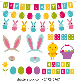 Easter vector decoration and photo booth props set