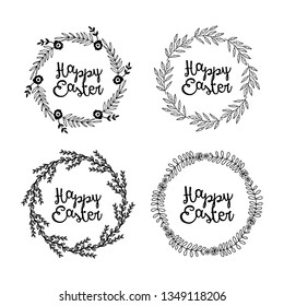 Easter vector elements, floral wreath.