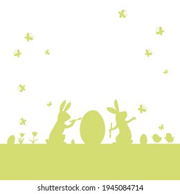 Easter vector flat background with rabbit, chick,egg, butterfly,spring flower green silhouette isolated on white. Two bunny painting easter egg.