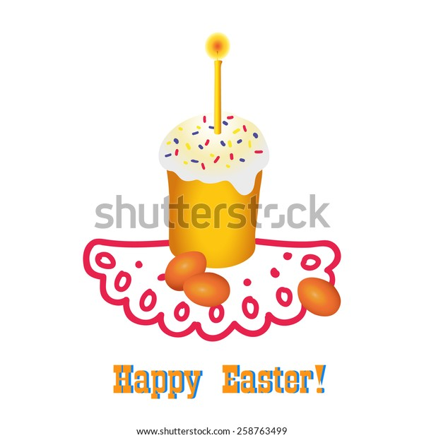 Easter vector illustration with cake and painted eggs
