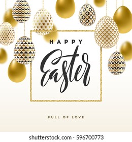 Easter vector illustration with calligraphic greeting and Easter eggs decorated with gold.