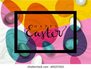Easter vector illustration. Realistic festive eggs and sketch drawing spring twigs, flowers and birds. Hand written lettering.