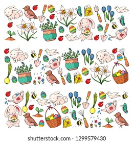 Easter vector illustration. Spring design for patterns. Holiday decoration for greeting cards. Rabbit, bunny character, eggs, flowers, seasonal elements.
