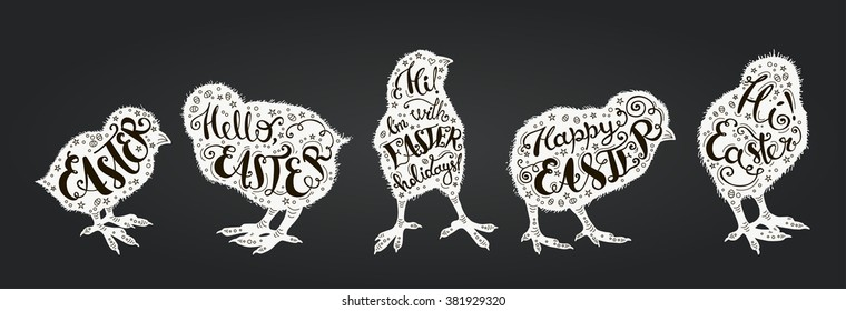 """Easter vector vintage set.  Cards with phrase """"Easter"""", """"Hi! I'm with Easter holidays"""", """"Hi! Easter"""", """"Hello, Easter"""", """"Happy Easter""""  on the silhouettes of  chicks."""