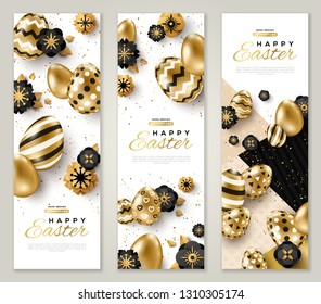 Easter vertical banners with gold ornate eggs, flowers and confetti. Vector illustration. Place for your text