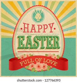 Easter vintage card. Vector illustration.