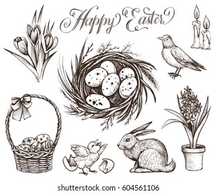 Easter vintage vector illustrations set. Hand drawn sketch of rabbit, festive eggs in the basket, spring flowers, nest, chicken and robin bird. Happy Easter calligraphy.