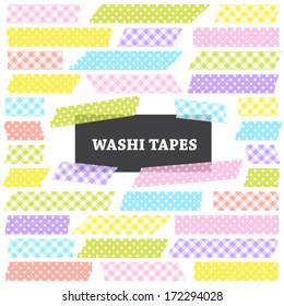 Easter Washi Tape Strips in Pastel Colored Gingham and Polka Dot Patterns. Semitransparent. Photo Frame Border, Web Blog Layout Element, Clip Art, Scrapbook Embellishment. Global colors used.