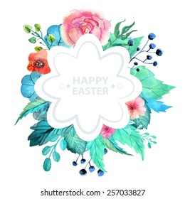 Easter watercolor natural illustration with flower sticker for beautiful Holiday design