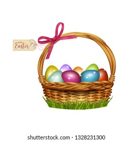 Easter wicker basket with colorful eggs. Vector illustration
