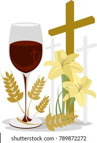 Easter - wine, wheat and lilies