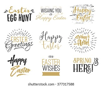 Easter wishes overlays, lettering labels design set. Retro holiday badges. Hand drawn emblem with ribbons. Isolated. Religious sign, logo or photo overlays for web, print.