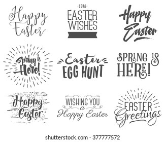 Easter wishes overlays, lettering labels design set. Retro holiday easter badges. Handdrawn emblem with ribbon. Isolated. Religious holiday sign or logo. Use for photo overlays design for web, print