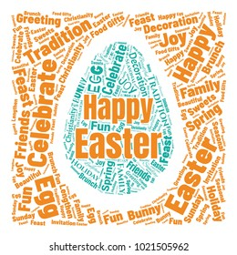 Easter Word Cloud Collage. Good Wishes Vector Illustration