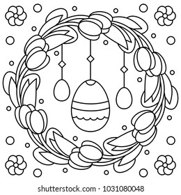 Easter wreath. Coloring page. Vector illustration.