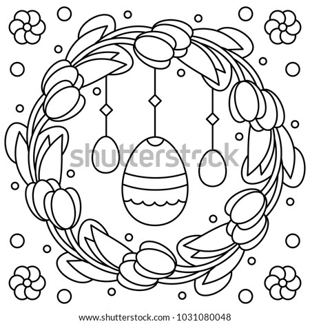 Easter Wreath Coloring Page Vector Illustration Stock Vector