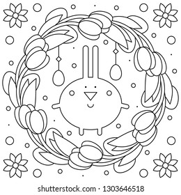 Easter wreath. Rabbit. Coloring page. Vector illustration.