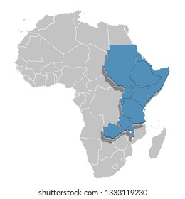 Eastern Africa in blue on the grey model of Africa map. Vector illustration