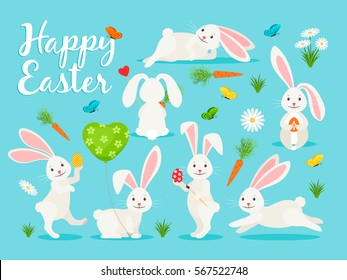 Eastern bunny vector illustration. Happy rabbit for easter banner collection.