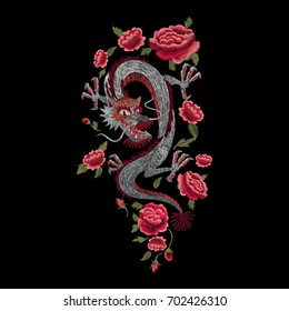 Eastern Chinese dragon and roses. Traditional stylish floral embroidery stitch on a black background. Sketch for printing on fabric, clothing, bag, accessories and design. Vector, trend