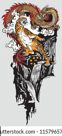 Eastern dragon versus tiger . Two spiritual creatures in the Buddhism representing the spirit heaven and matter earth. Tattoo style vector illustration