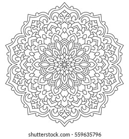 Eastern ethnic mandala. Round symmetrical pattern. Coloring book for adults