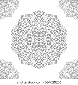 Eastern ethnic mandala. Round symmetrical ornament. Coloring page for adults