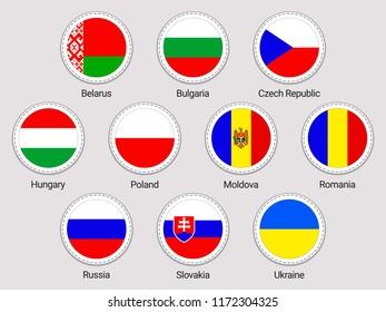 Eastern europe flags set. Round icons. Vector stickers collection. European countries flags. Belarus, Bulgaria, Czech Republic, Hungary, Poland, Moldova Romania Russia Slovakia Ukraine national symbol