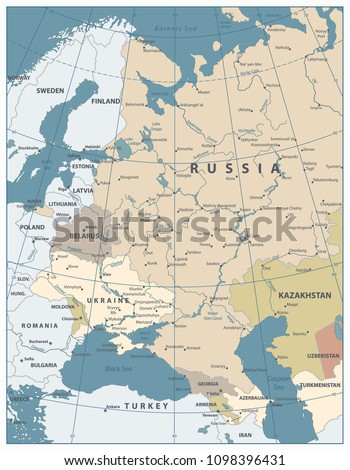 Eastern Europe Map Old Colors All Stock Vector Royalty Free