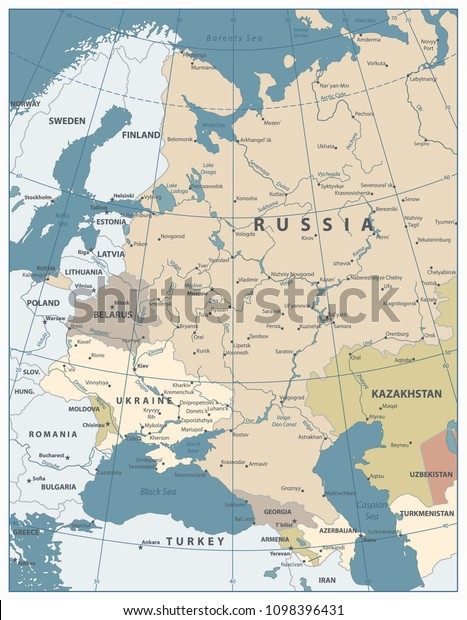 Map Of Georgia Eastern Europe.Eastern Europe Map Old Colors All Stock Vector Royalty Free 1098396431