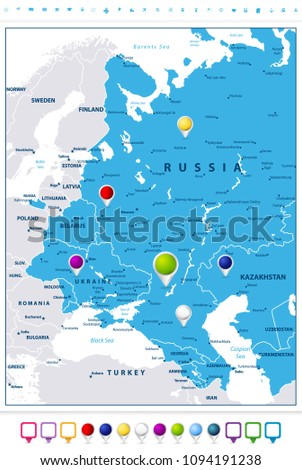 Eastern Europe Map Map Pointers Isolated Stock Vector Royalty Free