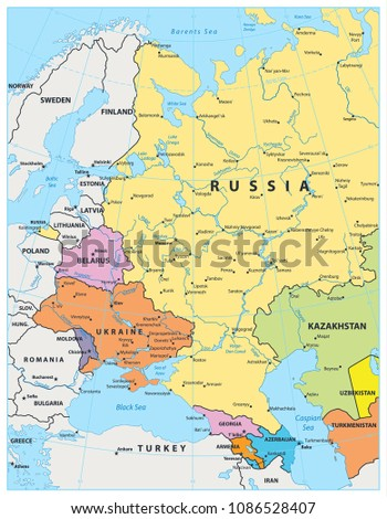 Political Map Eastern Europe.Eastern Europe Political Map Detailed Vector Stock Vector Royalty
