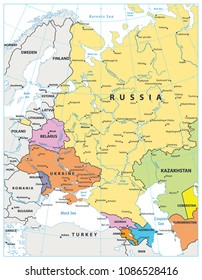 Eastern Europe Political Map Isolated on white. Detailed vector illustration of map.