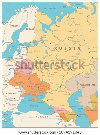 Eastern Europe Political Map Retro Colors Stock Vector (Royalty Free ...