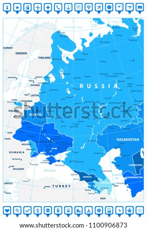 Eastern Europe Political Map Shades Blue Stock Vector (Royalty Free ...