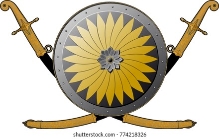 Eastern European round shield and two crossed curves of a sword in a sheath